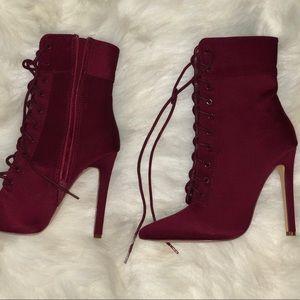 Shoes - ❣️ Burgundy lace up booties Olivia Ferguson Lycra